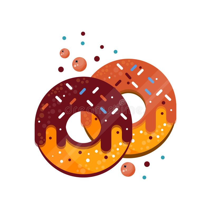 Two donuts with colorful sprinkles, caramel and chocolate glaze. Delicious and sweet dessert. Food for breakfast. Flat vector illustration