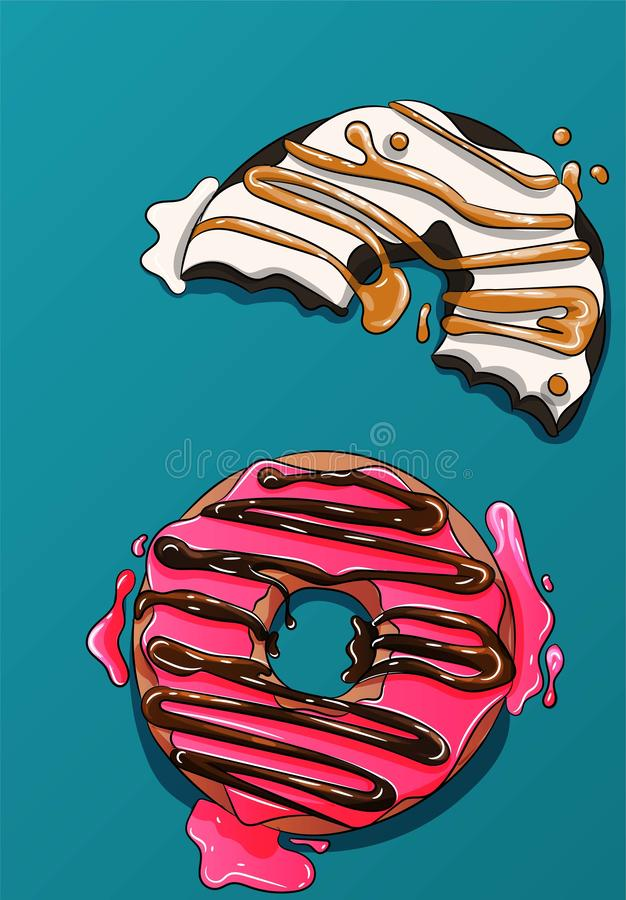 Two donuts , cute cookies, pink and white cakes with caramel and chocolate. Delicious, sweet illustration, sugar, frosting a stock illustration