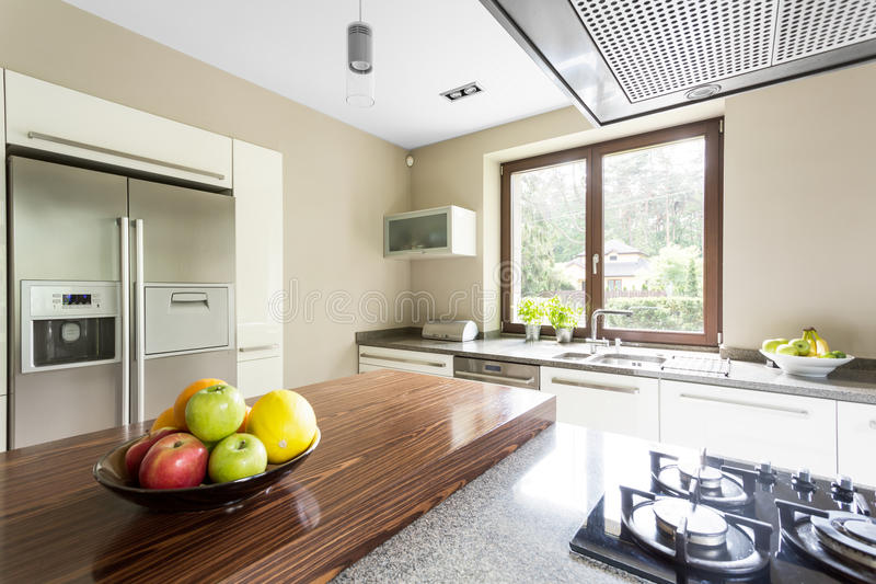 Two door refrigerator in kitchen royalty free stock photography