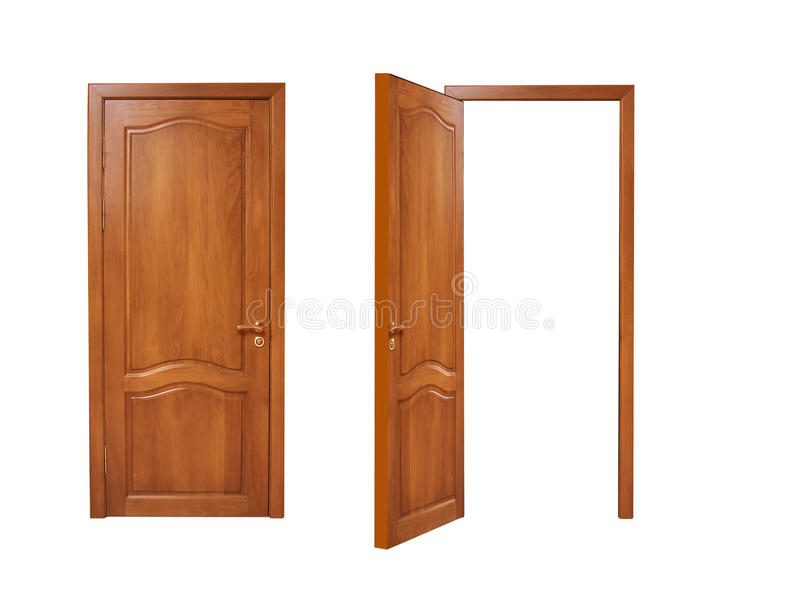 Two doors, open and closed on a white background royalty free stock photo
