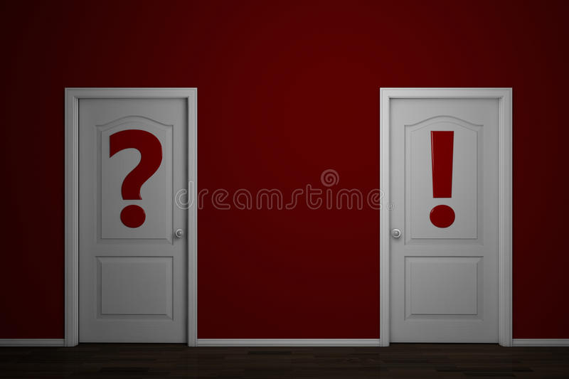 Download Two Doors With Question And Answer Stock Illustration - Illustration of risk, closed: 23183525