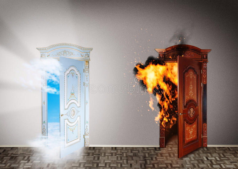 Two doors to heaven and hell. royalty free stock photos