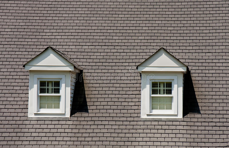 two dormers on grey shingle roof stock photo image 15886032. Black Bedroom Furniture Sets. Home Design Ideas