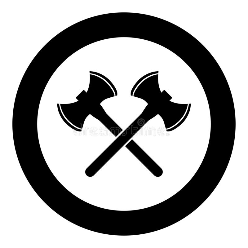 Two double-faced viking axes icon black color vector in circle round illustration flat style image stock illustration