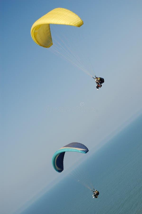 Two Double Paragliding stock photos