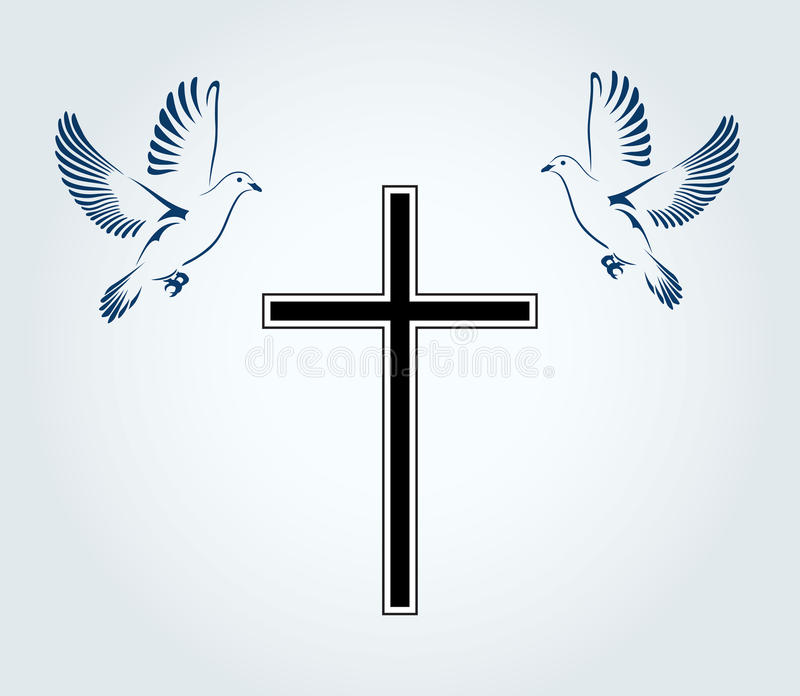 Two Doves Flying With A Symbol Of Religion Cross Dove Of Peace