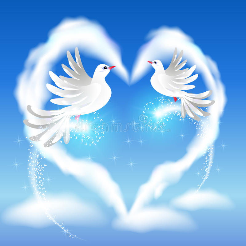Two doves in the sky and heart. Flying two white pigeon in the blue sky and heart with glowing salute vector illustration