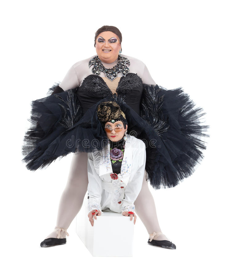 Two Drag Queens Performing Together Stock Images