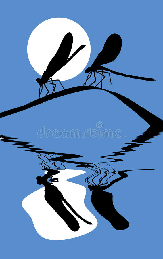 Download Two dragonflies on herb stock vector. Image of abstract - 16420478