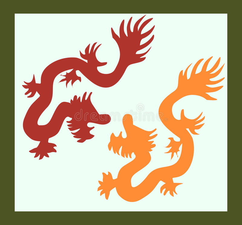 Download Two dragons stock vector. Image of flying, dragon, oriental - 3663212