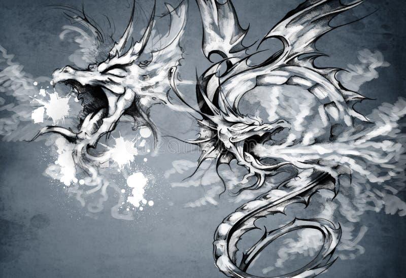 Two dragons, fantasy illustration