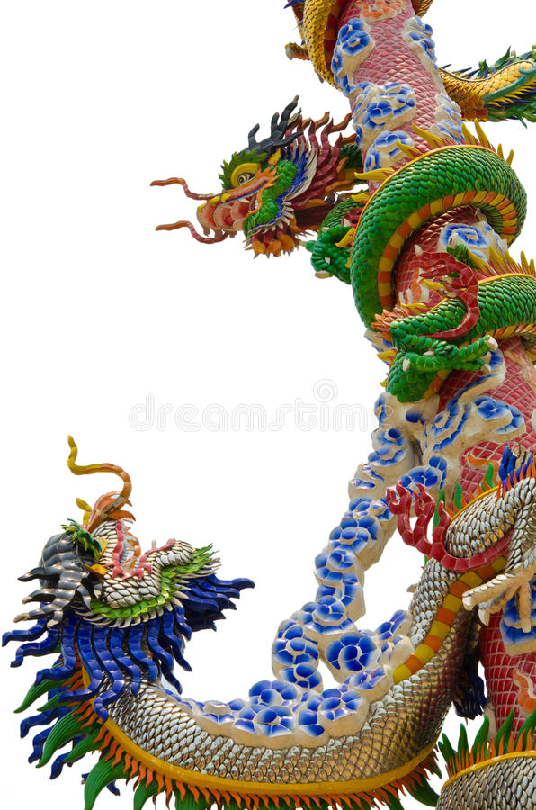 Download Two Dragons Fighting On A Pole (Isolation) Stock Image - Image: 24253675