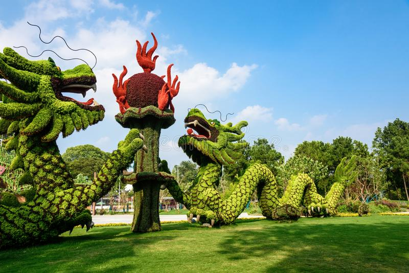 Two dragons frolicking with a pearl royalty free stock image