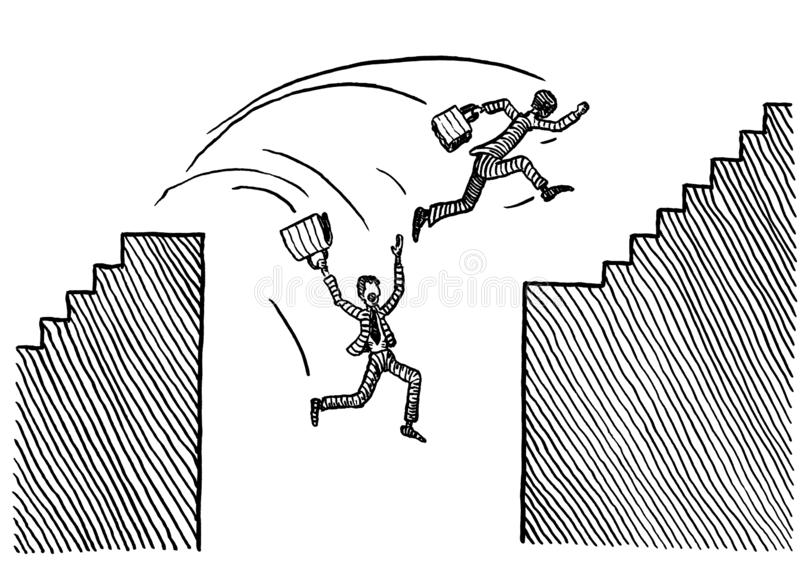 Two Drawn Men Attempting To Jump Over Abyss. Freehand pen drawing of two competing business man jumping over abyss. One is succeeding, the other one plummeting vector illustration