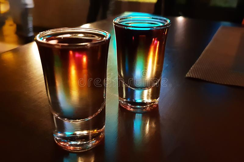 Two drinks on the bar.  stock photo