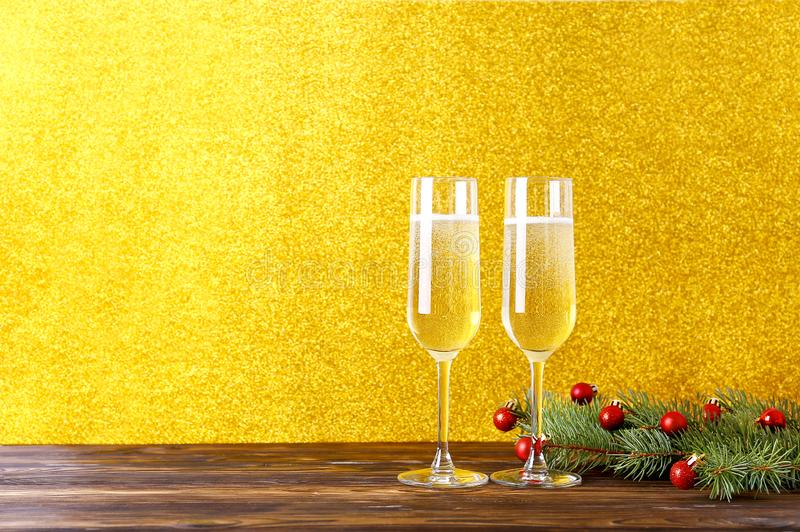 Two drinks for Happy New Year concept. stock photo