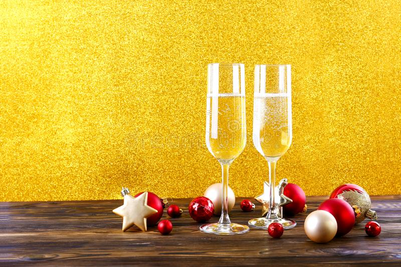 Two drinks for Happy New Year concept. stock images
