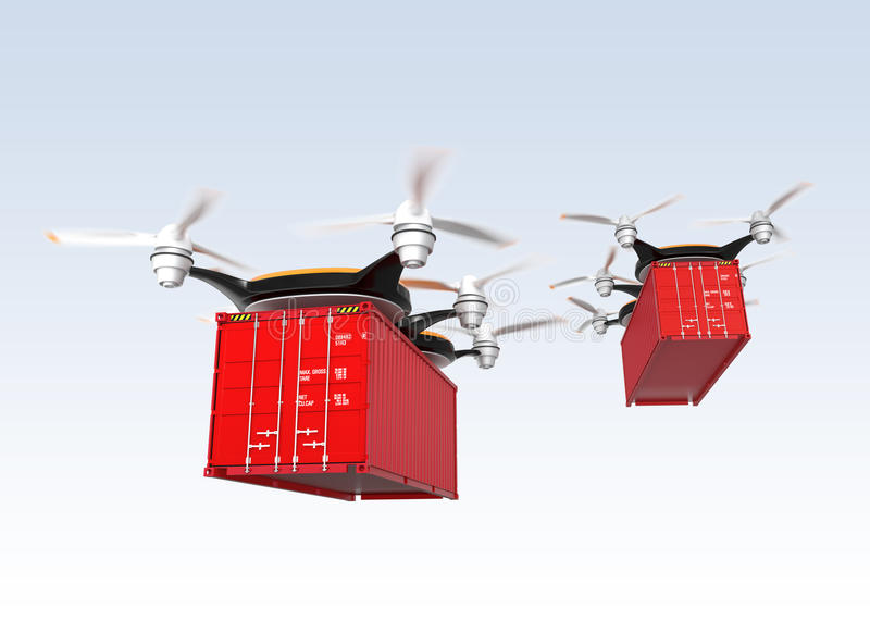 Two drone carrying cargo containers. Drones carrying cargo containers, Concept for fast delivery vector illustration