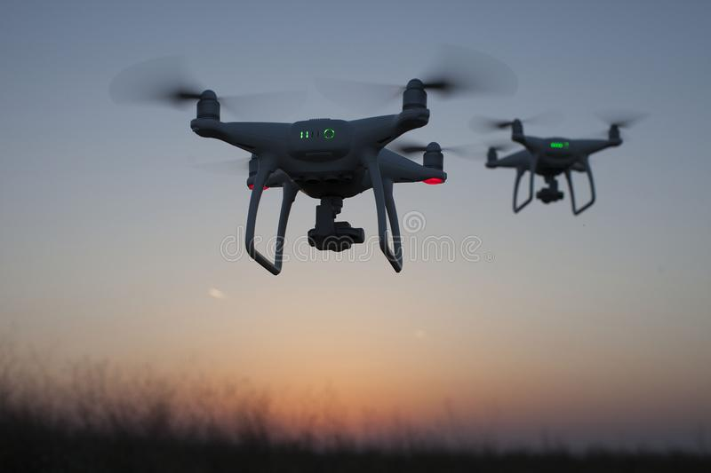 Two drones in the sky. Drones flying in the sky