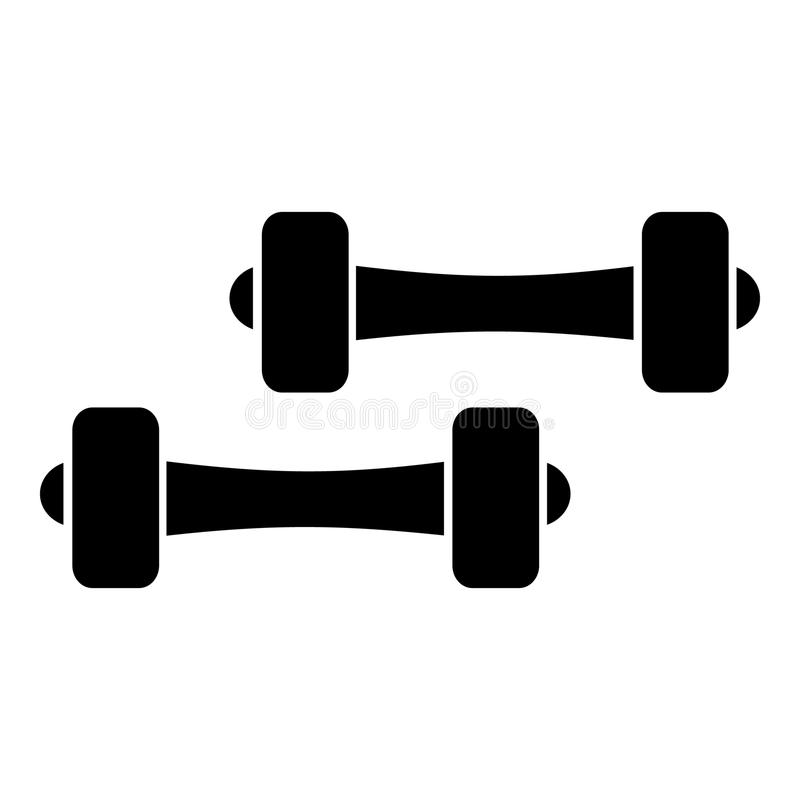 Two dumbbells icon, simple style. Two dumbbells icon. Simple illustration of two dumbbells vector icon for web stock illustration