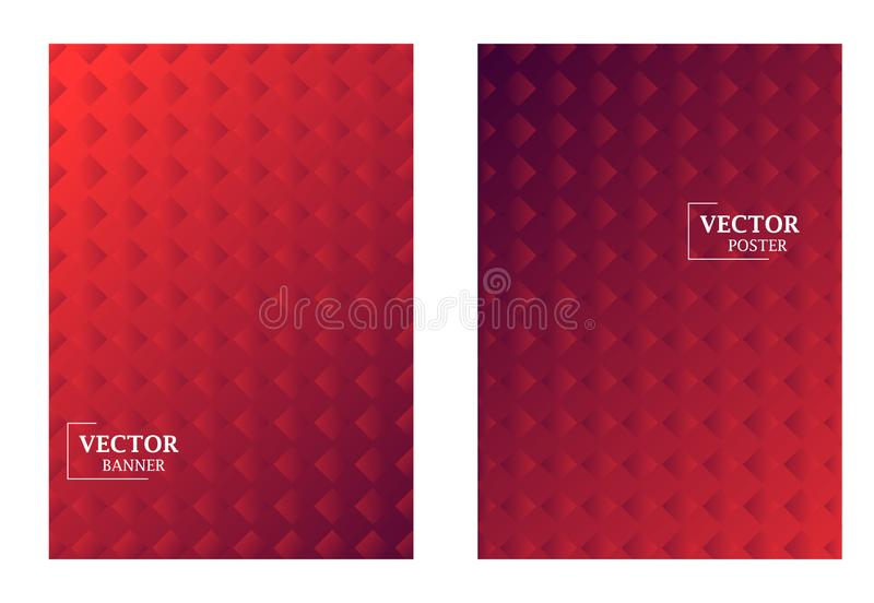 Two dynamic template in red colors with gradient effect. Pattern with rhombus. Art can be used for brochure, flyers, packing, cover design royalty free illustration