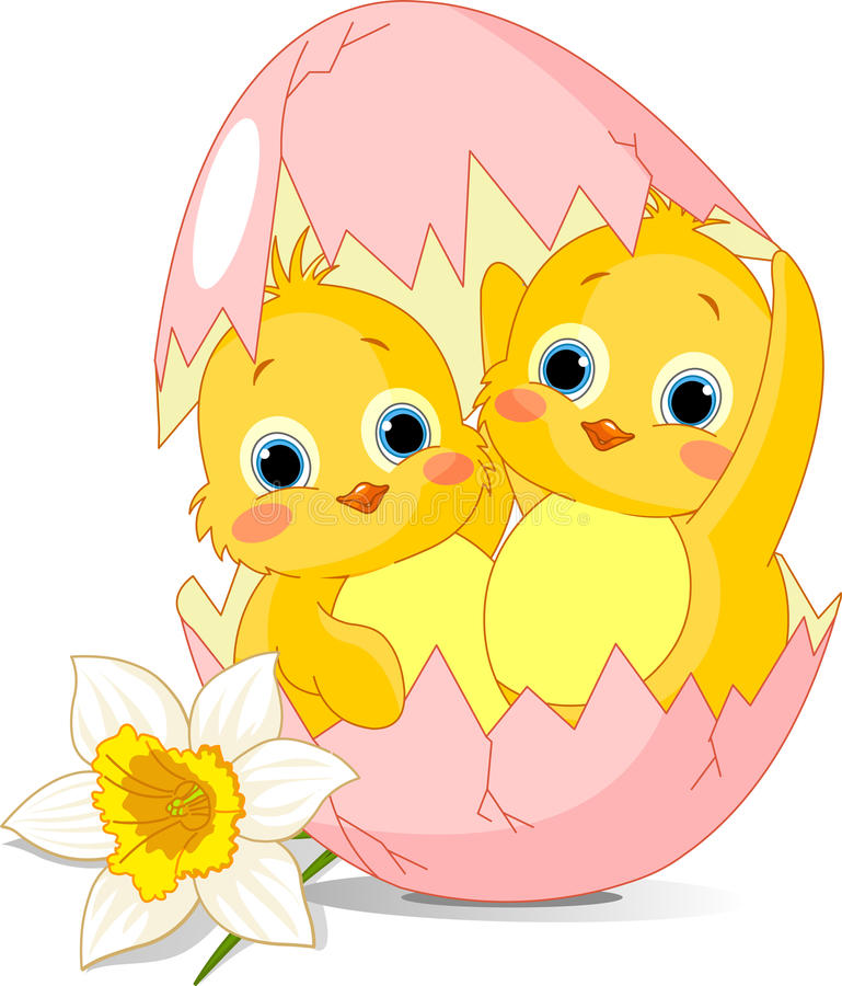 Free Two Easter Chickens Hatched From Egg Royalty Free Stock Image - 18650566