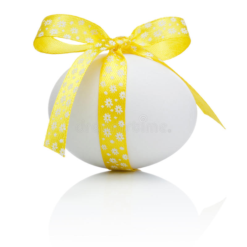 Two Easter eggs with festive bow stock photo