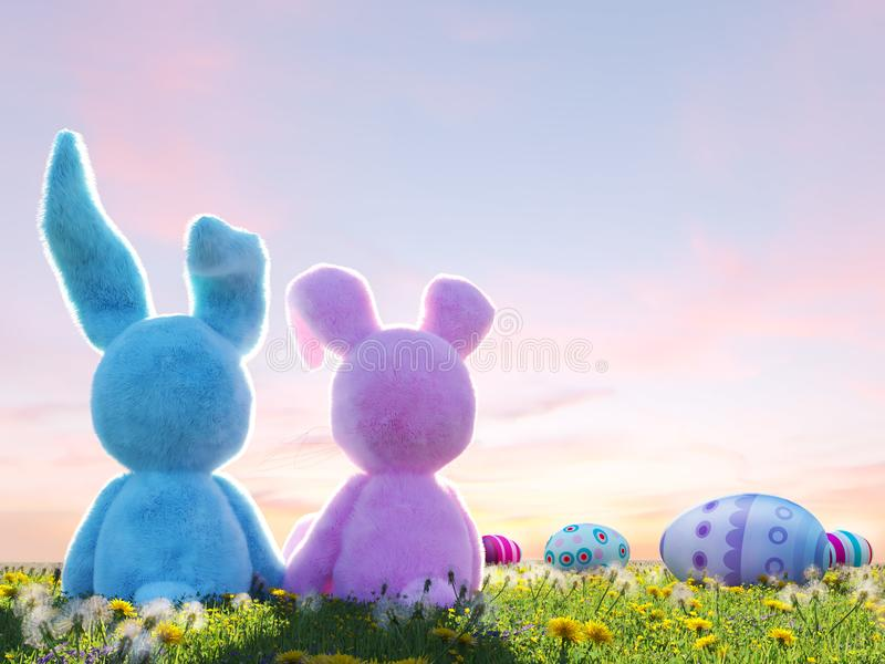 Two easter rabbits sitting in lawn with easter eggs. 3d rendering vector illustration