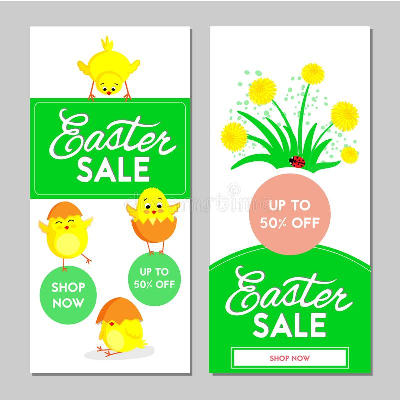 Two Easter sale banners. Vector illustration. stock illustration