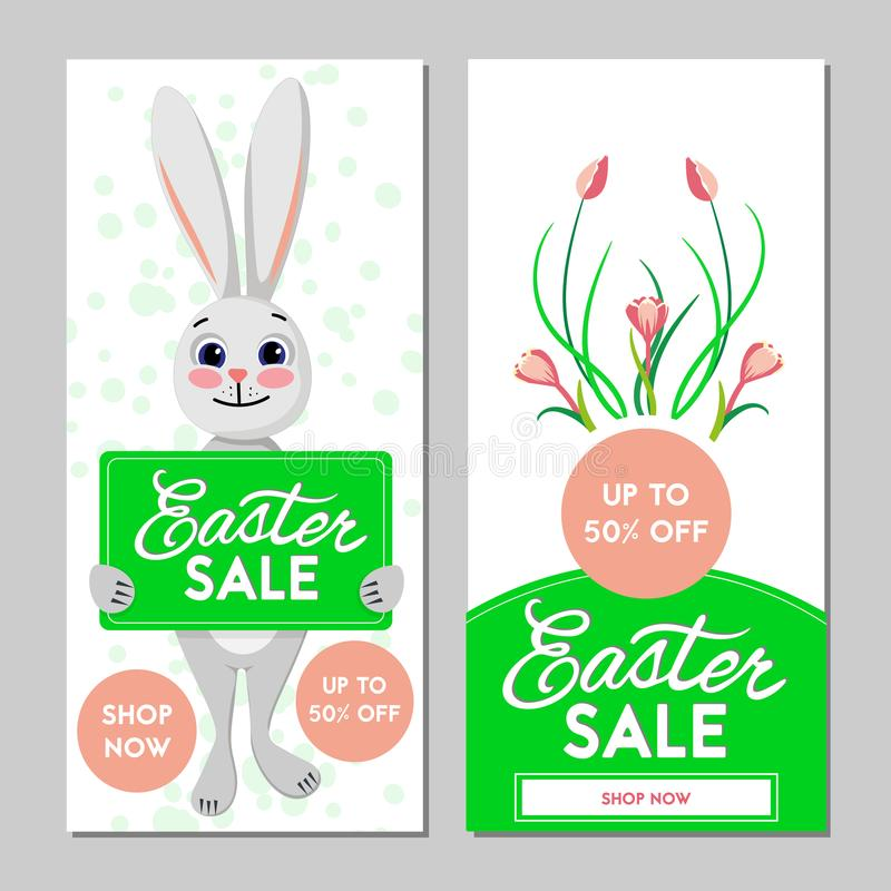Two Easter sale banners. Vector illustration. vector illustration