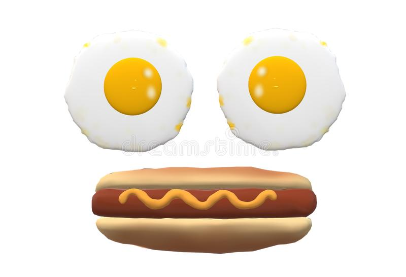Two egg omelettes and a hot dog bun arrange in the shape of a face royalty free stock photo