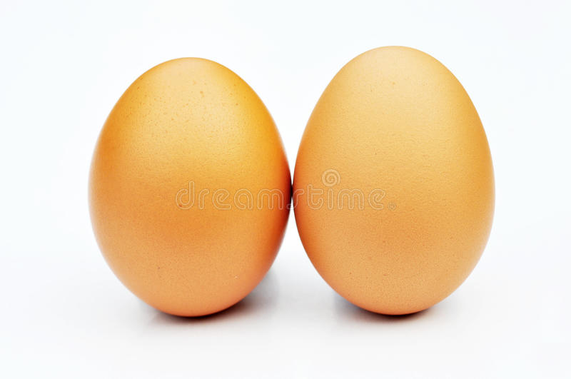 Two eggs are. On a white background stock photo