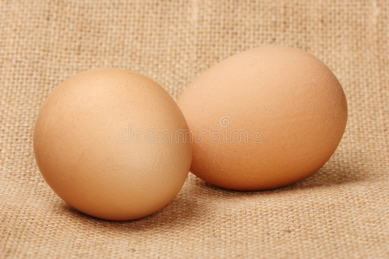 Two Eggs On The Linen Royalty Free Stock Image
