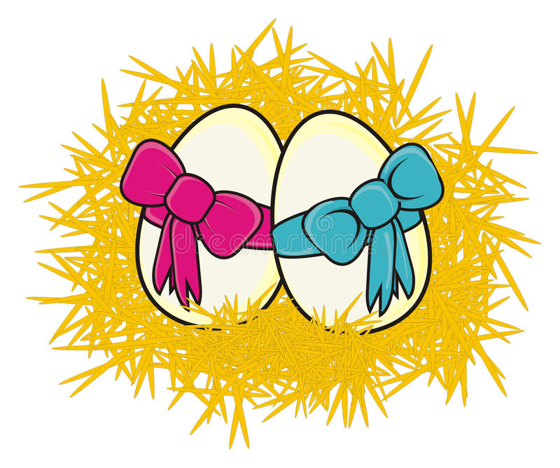 Two eggs with ribbon vector illustration