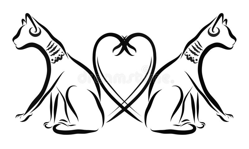 Two Egyptian cats, romance, heart.  stock illustration