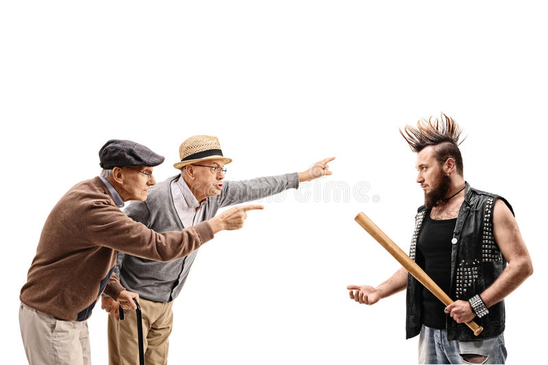 Two elderly men arguing with a punker. Isolated on white background royalty free stock images