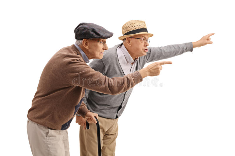 Two elderly men arguing with someone. Isolated on white background royalty free stock photography