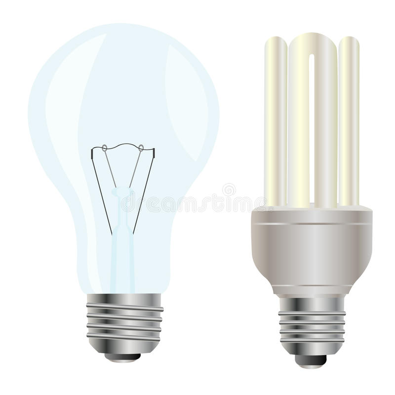 Download Two electric light bulbs stock vector. Image of thread - 18947710