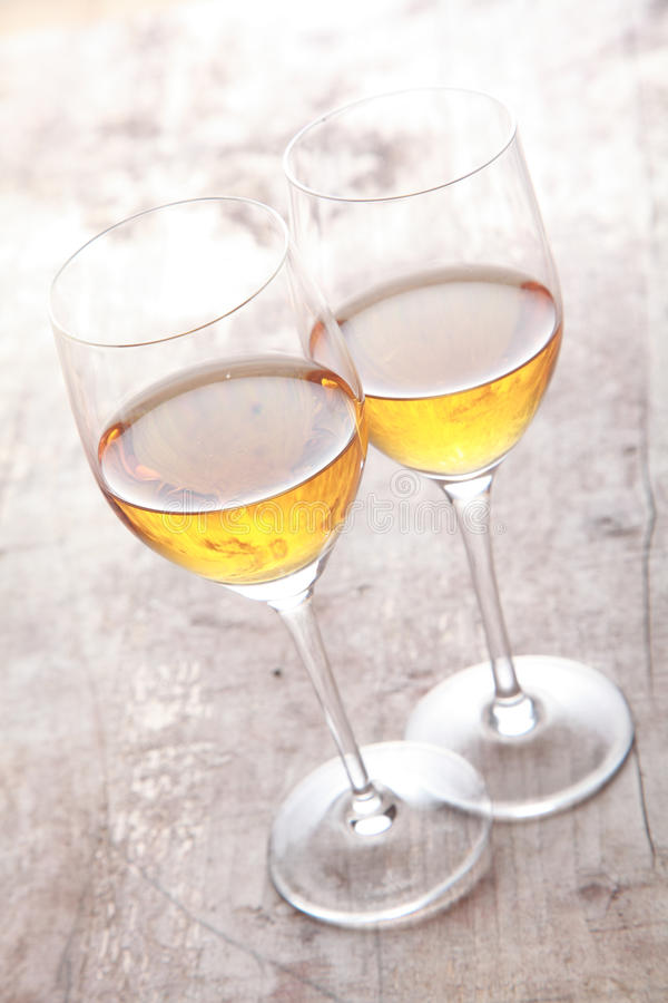 Two Elegant Champagne Glasses on Table royalty free stock photo