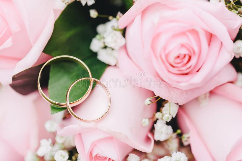 Two elegant gold rings for the wedding of lovers with scenery from fresh roses. Beautiful decoration for the wedding. Festive postcard stock photos