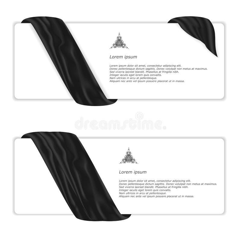 Two elegant horizontal white banner with black silk cloth. Vector vector illustration
