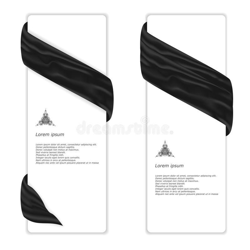 Two elegant vertical white banner with black silk cloth. Vector royalty free illustration