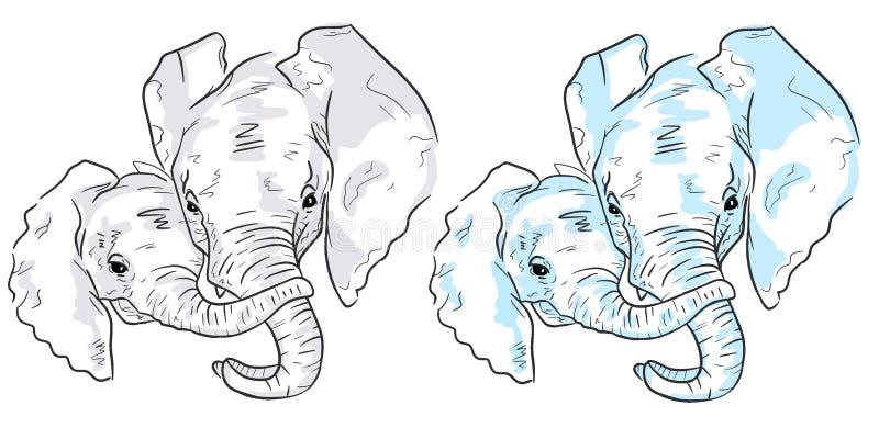 Two elephant sketches on white background. Set of colorful elephants stock illustration