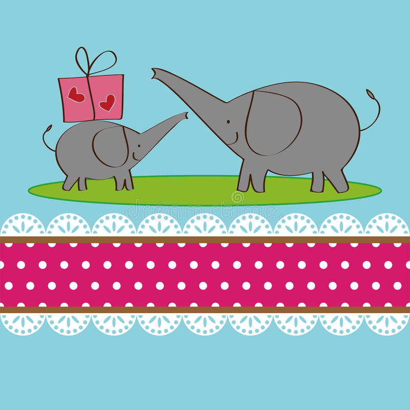 Download Two Elephants Design For Greeting Card Stock Vector - Image: 25398183
