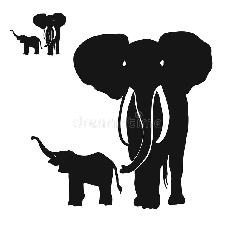 Two Elephants Silhouettes. Digital Wall Art, Vector Drawing, Various versions for Large Print and small Icon stock illustration