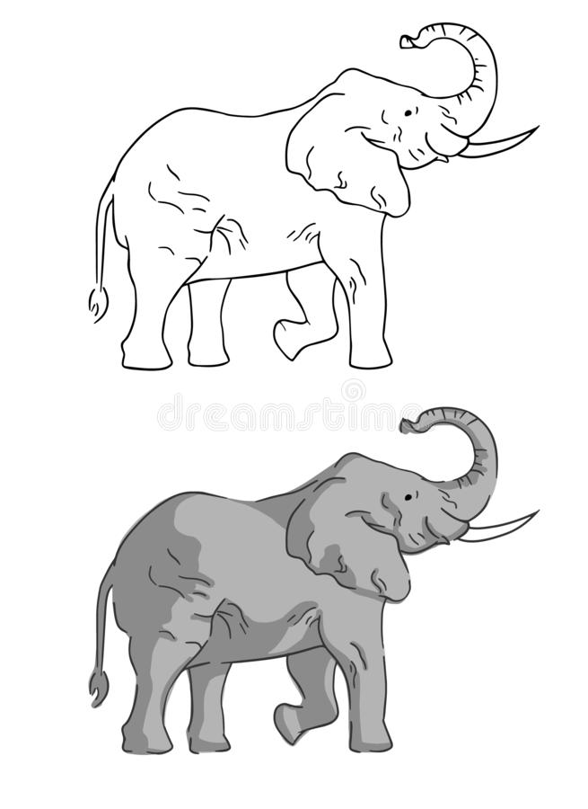 Two elephants on white background drawn by simple style. royalty free illustration