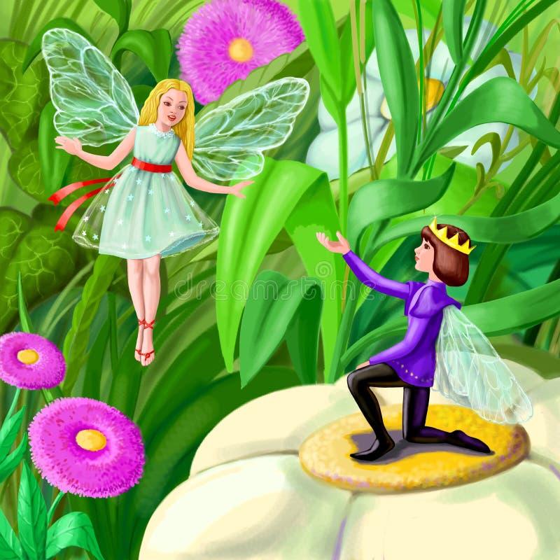 Two elfs royalty free illustration