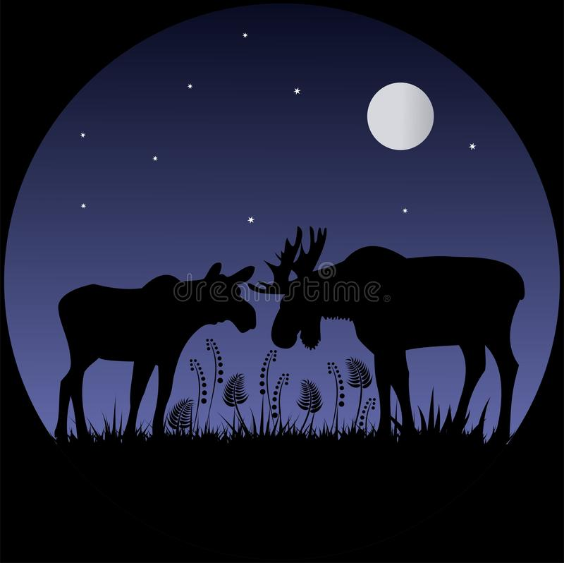 Two elks silhouettes in moonlight stock image