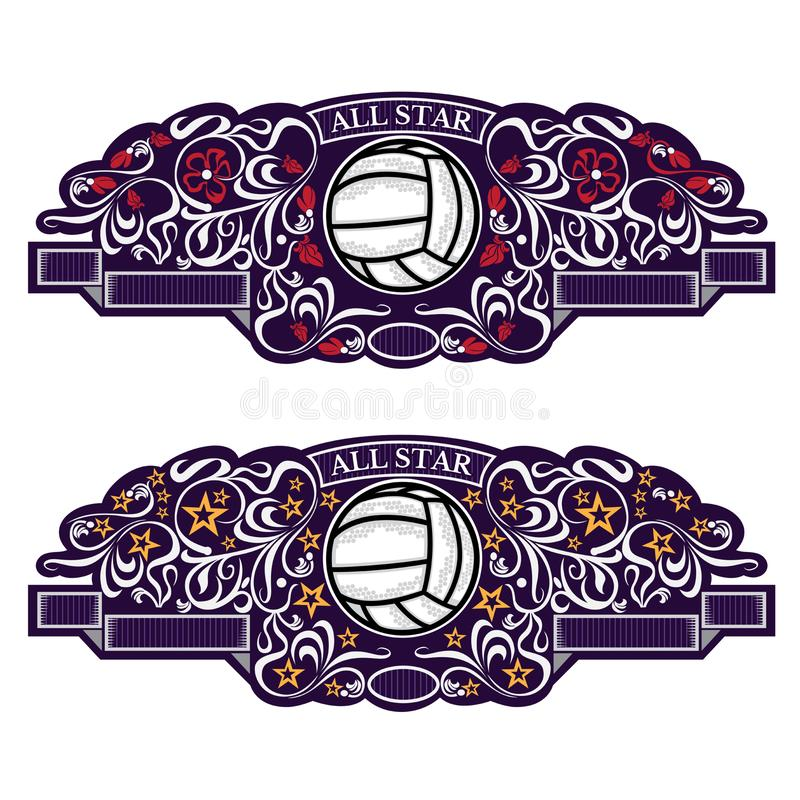 Two emblems with volleyball ball in center of violet banner with silver pattern. Sport logo for any team or competition all star i. Two emblems with volleyball stock illustration