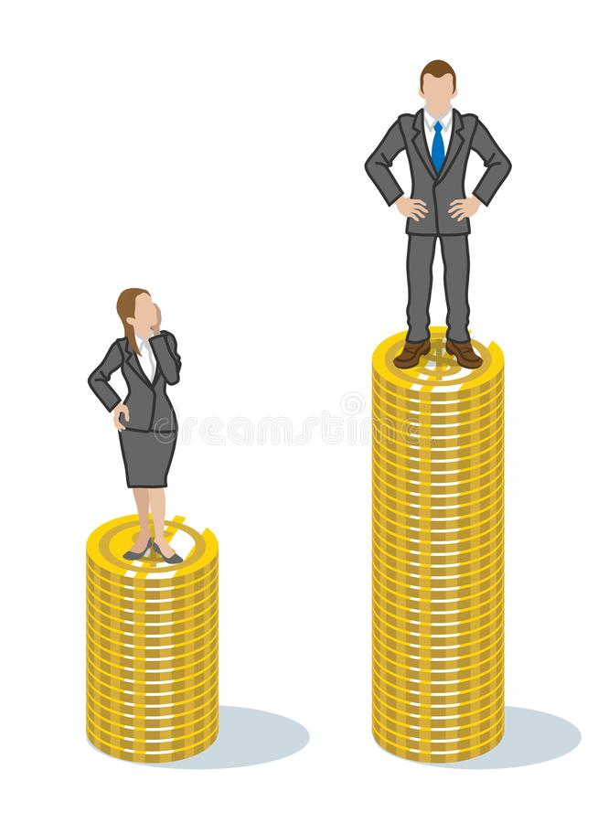 Two employees standing on the piled coins - gender wage gap issue clip art.  vector illustration